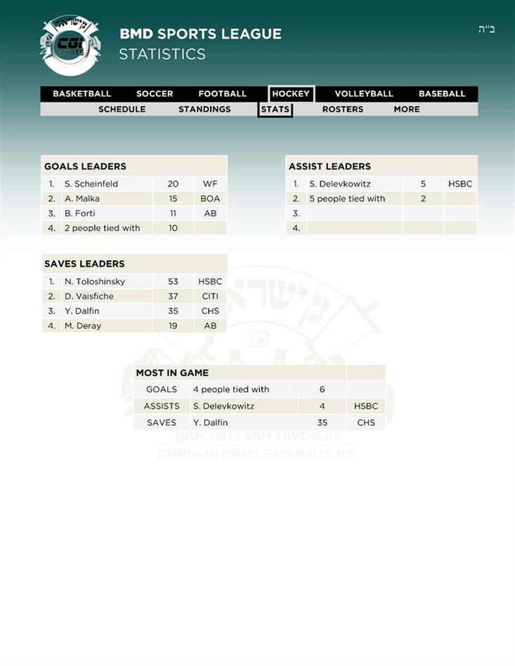 19Leaders Hockey Stats 28 AV